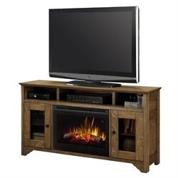 Dimplex Walker TV Stand with Electric Fireplace in Warm Oak