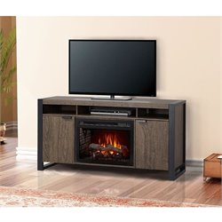 Dimplex Pierre Electric Fireplace TV Stand with Logset in Elm Brown