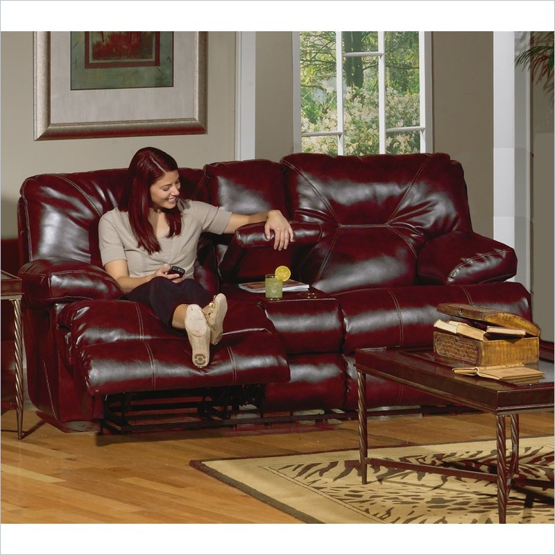 Cortez Reclining Console Loveseat in Red Bonded Leather