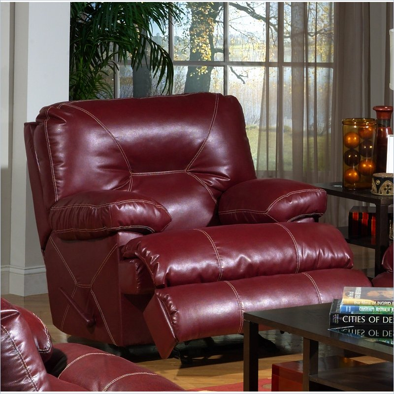 Cortez Chaise Glider Recliner Chair in Red Bonded Leather