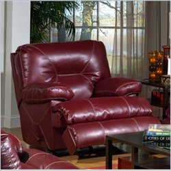 Catnapper Cortez Chaise Glider Recliner Chair in Red Bonded Leather