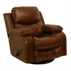 Catnapper Dallas Leather Swivel Glider Recliner in Tobacco