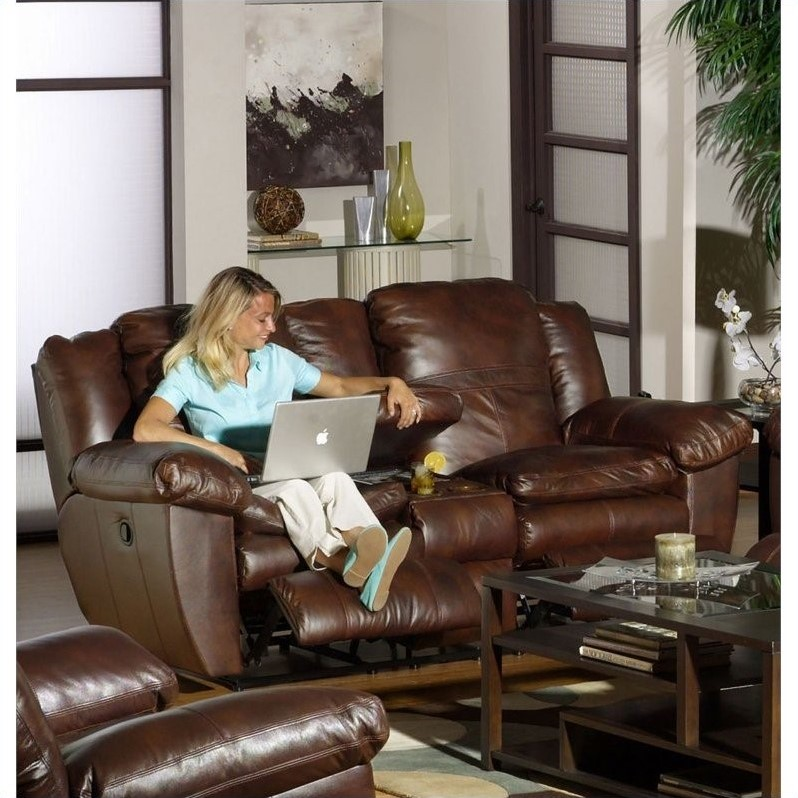 Catnapper Sonoma Leather Reclining Console Loveseat in Sable