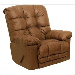 Catnapper Cloud Ten Leather Touch Chaise Rocker Recliner in Mushroom