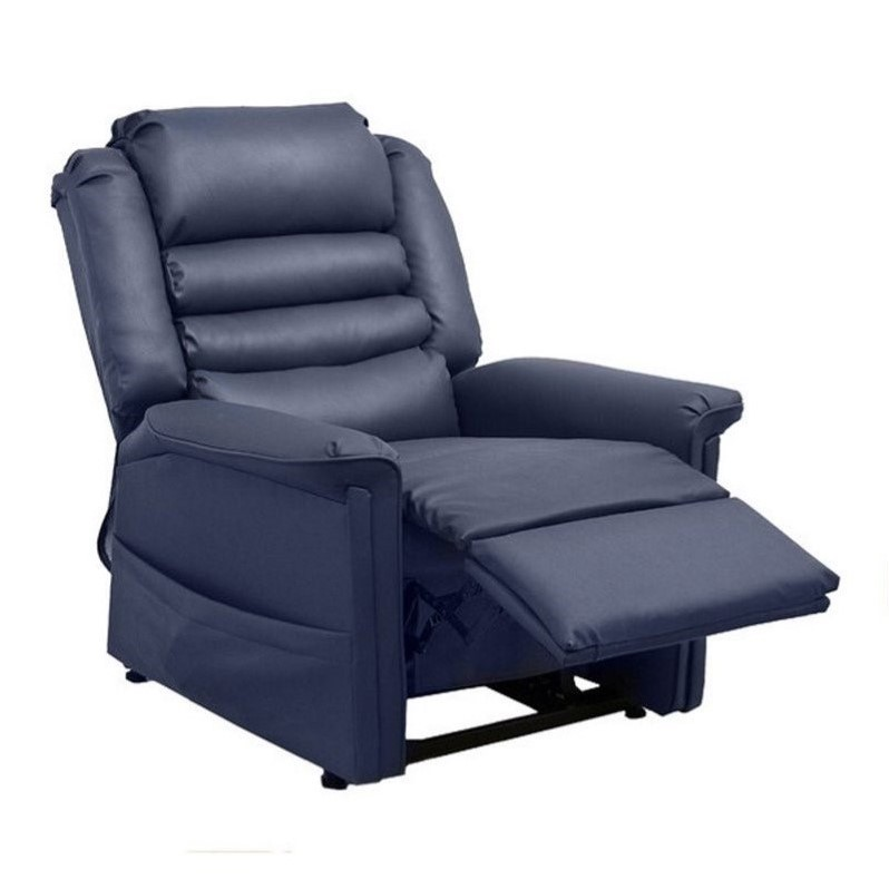 Catnapper Invincible Faux Leather Power Lift Recliner in Sapphire