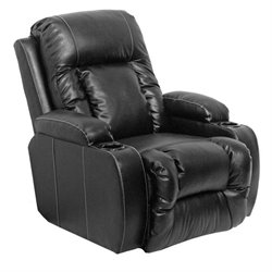 Catnapper Top Gun Leather-Power Chaise Recliner Chair in Black