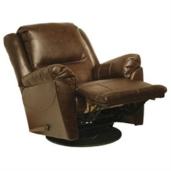 Catnapper Maverick Leather Swivel Glider Recliner Chair in Java