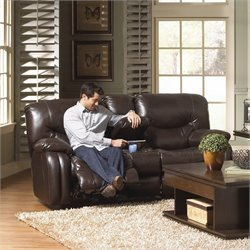 Catnapper Arlington Leather Reclining Loveseat in Mahogany