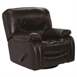 Catnapper Arlington Leather Swivel Glider Recliner in Mahogany