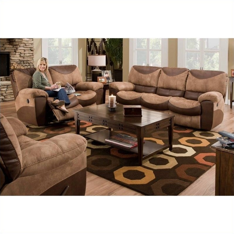 Catnapper Portman Reclining 3 Piece Sofa Set In Saddle And