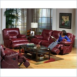 Catnapper Cortez Reclining 3 Piece Set Sofa in Red Bonded Leather