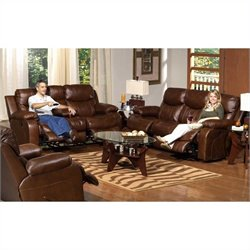 Catnapper Dallas Reclining 3 Piece Leather Sofa Set in Tobacco