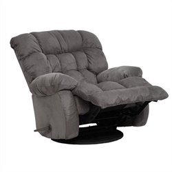 Catnapper Teddy Bear Oversized Chaise Swivel Recliner in Graphite