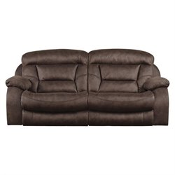 Catnapper Desmond Polyester Lay Flat Reclining Sofa in Sable