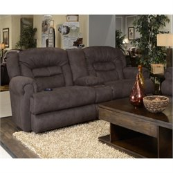 Catnapper Atlas Reclining Console Fabric Loveseat in Sable