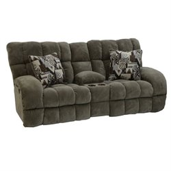 Catnapper Siesta Power Lay Flat Reclining Fabric Loveseat in Porcini