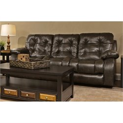 Catnapper Watson Faux Leather Lay Flat Reclining Sofa in Coal