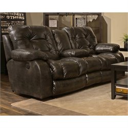 Catnapper Watson Lay Flat Reclining Console Loveseat in Coal