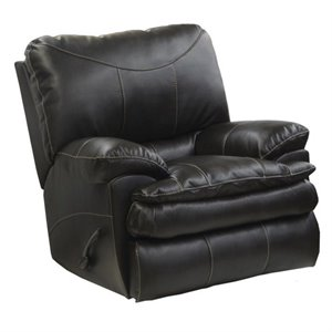 Perez Rocking Leather Recliner in Steel