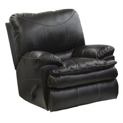 Catnapper Perez Rocking Leather Recliner in Steel