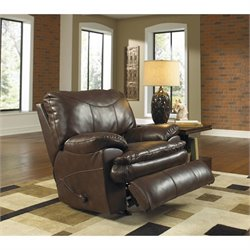 Catnapper Perez Rocking Leather Recliner in Chestnut