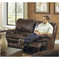 Catnapper Perez Leather Power Reclining Loveseat in Chestnut