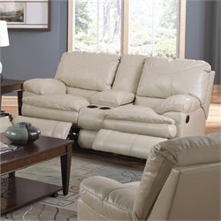 Catnapper Perez Reclining Console Leather Loveseat in Ice