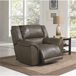Catnapper Carmine Lay Flat Leather Recliner in Smoke