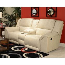 Catnapper Carmine Lay Flat Console Leather Loveseat in Pebble