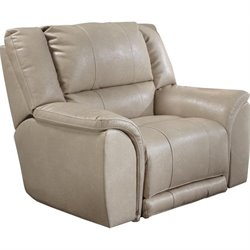 Catnapper Carmine Lay Flat Leather Recliner in Pebble