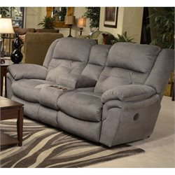 Catnapper Joyner Lay Flat Reclining Console Fabric Loveseat in Slate