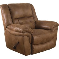 Catnapper Joyner Lay Flat Fabric Recliner in Almond