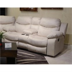 Catnapper Catalina Leather Reclining Console Loveseat in Ice