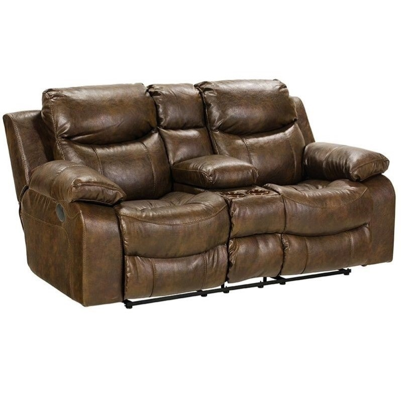 Catnapper catalina leather reclining console loveseat in for Catnapper cloud nine chaise recliner