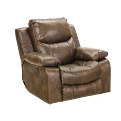 Catnapper Catalina Leather Swivel Glider Recliner in Timber