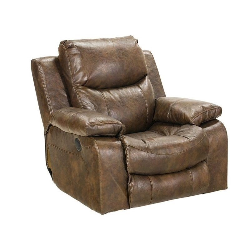 Catnapper Catalina Leather Power Glider Recliner In Timber 643106122319302319