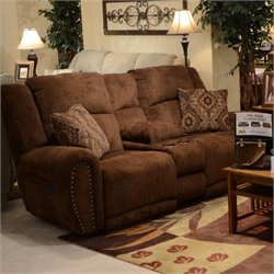 Catnapper Stafford Lay Flat Reclining Loveseat in Tobacco