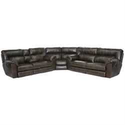 Catnapper Nolan 3 Piece Leather Reclining Sectional in Godiva