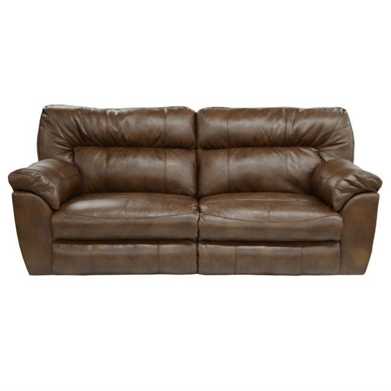 Catnapper nolan leather reclining sofa in chestnut for Catnapper cloud nine chaise recliner