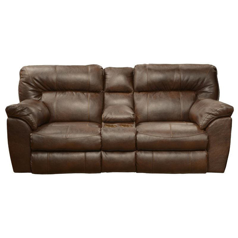 Catnapper Nolan Leather Reclining Loveseat In Chestnut 4049122309302309