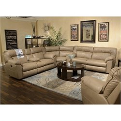 Catnapper Nolan Leather Reclining Sectional in Putty