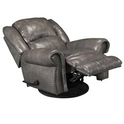 Catnapper Livingston Leather Swivel Glider Recliner in Smoke
