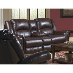 Catnapper Livingston Leather Dual Gliding Console Loveseat in Redwood