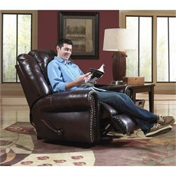 Catnapper Livingston Leather Swivel Glider Recliner in Redwood
