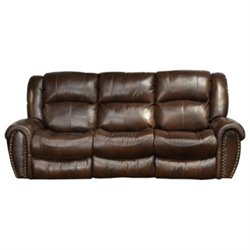 Catnapper Jordan Leather Lay Flat Reclining Sofa in Tobacco