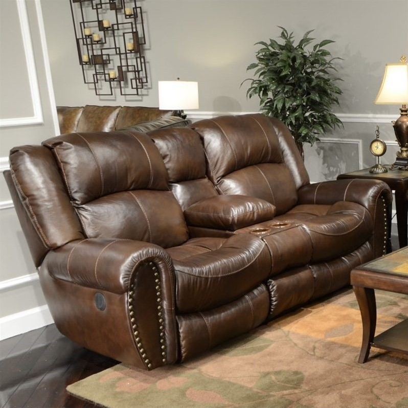 Catnapper Jordan Leather Lay Flat Reclining Loveseat In