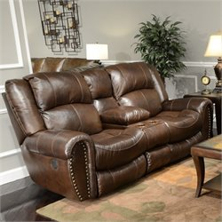 Catnapper Jordan Leather Lay Flat Reclining Loveseat in Tobacco