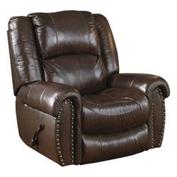 Catnapper Jordan Leather Lay Flat Recliner in Tobacco