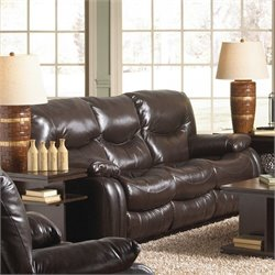 Catnapper Arlington Leather Reclining Sofa in Mahogany