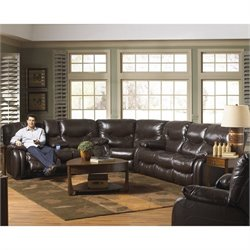 Catnapper Arlington Leather Reclining Sectional in Mahogany